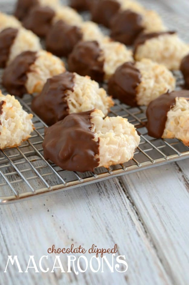 Chocolate Dipped Macaroon Cookies- sure to delight coconut and chocolate fans everywhere!