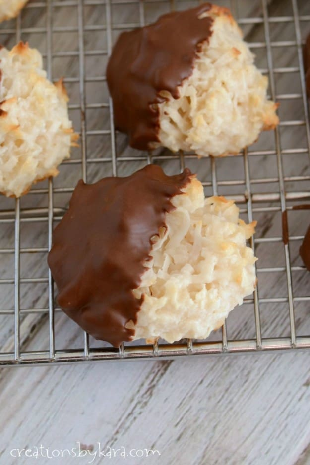 Learn how to make Coconut Macaroons dipped in chocolate. An easy and delicious cookie for any coconut lover!