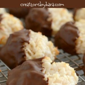 easy coconut macaroons dipped in chocolate