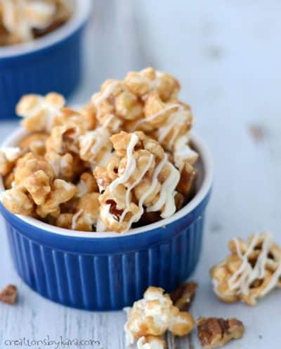 Whip up a batch of this Cinnamon Roll Caramel Corn for movie night, or gift giving. It's crunchy, sweet, cinnamony, and highly addictive. A perfect holiday caramel corn recipe!