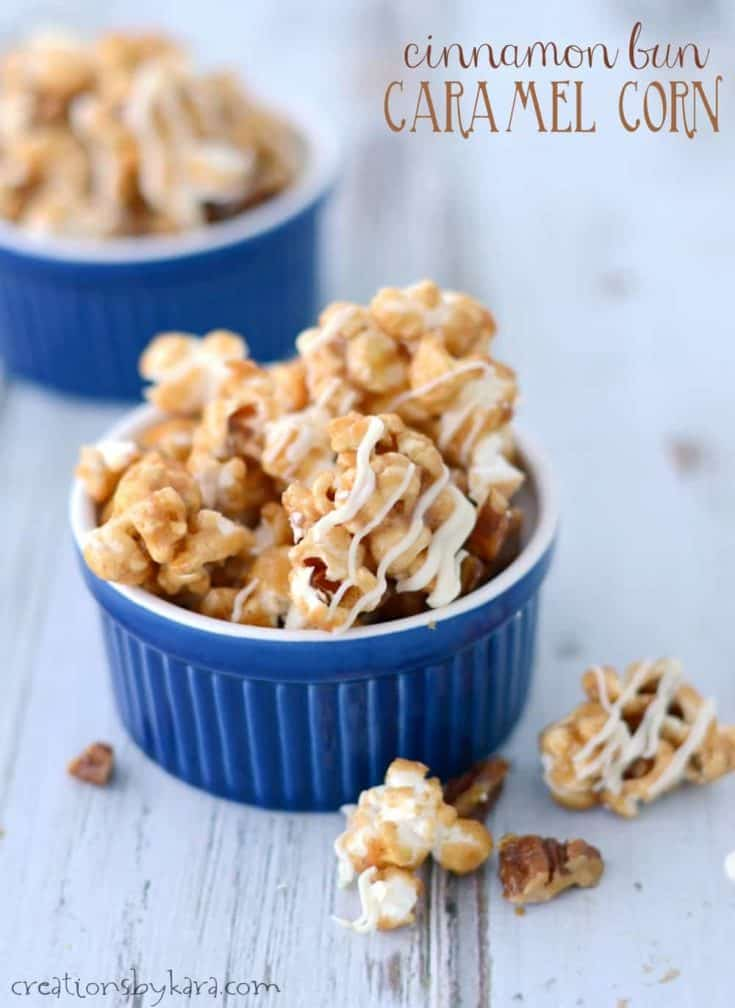 Cinnamon Roll Caramel Corn is crunchy, sweet, and highly addicting. A perfect popcorn recipe for snacking or gift giving!