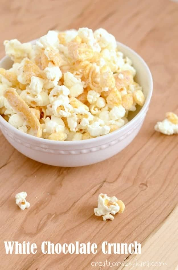 This crunchy white chocolate snack mix is a crowd favorite!