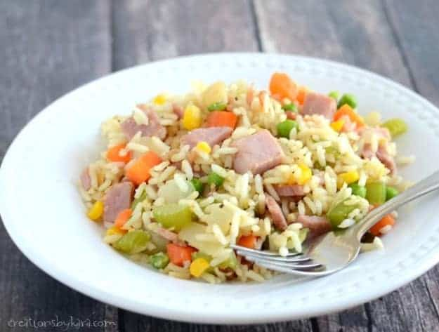 Recipe for delicious homemade Ham Fried Rice. A family favorite!
