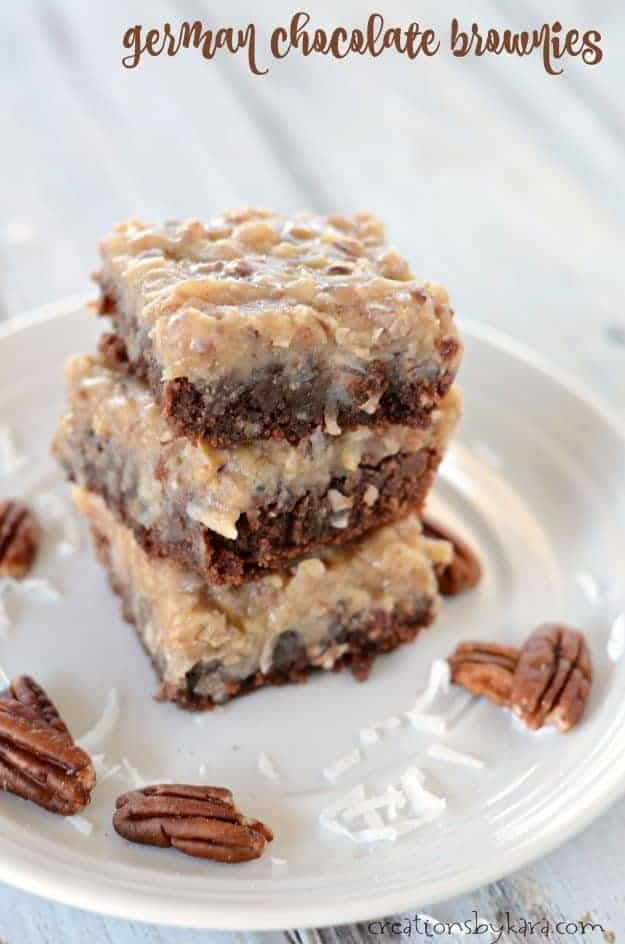 Fudgy German Chocolate Brownies - we like these brownies even better than German Chocolate Cake!