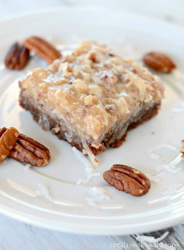 Decadent German Chocolate Brownies - the homemade frosting makes these brownies absolutely sinful.