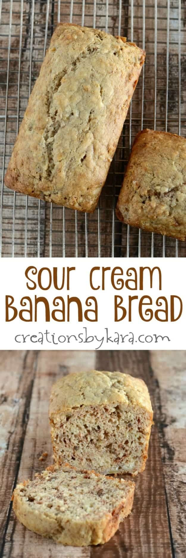 This Sour Cream Banana Bread recipe will blow you away! It is soft and tender, and a secret ingredients adds an amazing flavor! I have also included the instructions for making banana muffins.