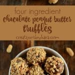 four ingredient chocolate peanut butter truffle collage