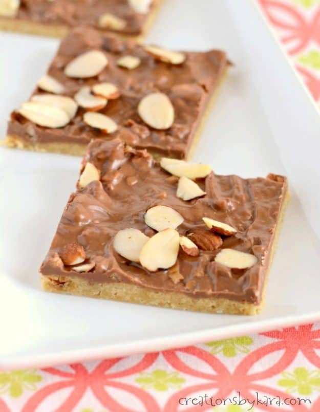 These Toffee Bars are quick and easy, but so yummy. Rich and buttery bars with a melted chocolate topping.