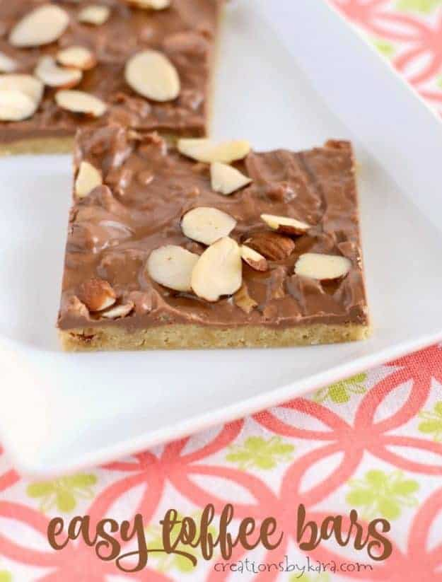 Quick and easy toffee bars. Chewy and buttery and topped with melted candy bars. A perfect bar recipe for beginning chefs.