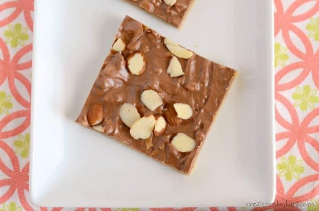 Quick and Easy Toffee Bars - only seven ingredients, and so tasty. Melted candy bars make these toffee bars extra yummy!