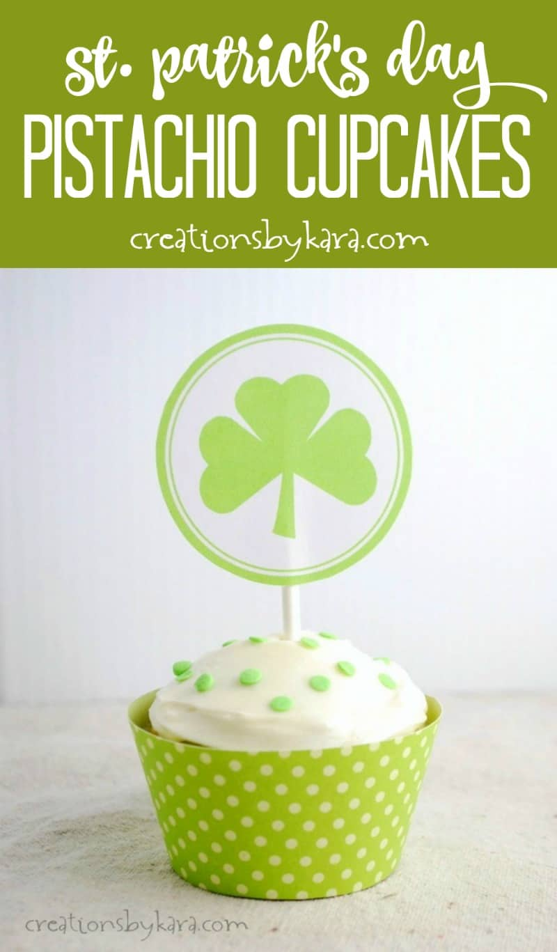 St. Patrick's Day Pistachio Cupcakes pudding makes these cupcakes extra yummy, and gives them a fun green color. A perfect St. Patrick's Day treat. #stpatricksday #greenfood #stpatricksrecipe