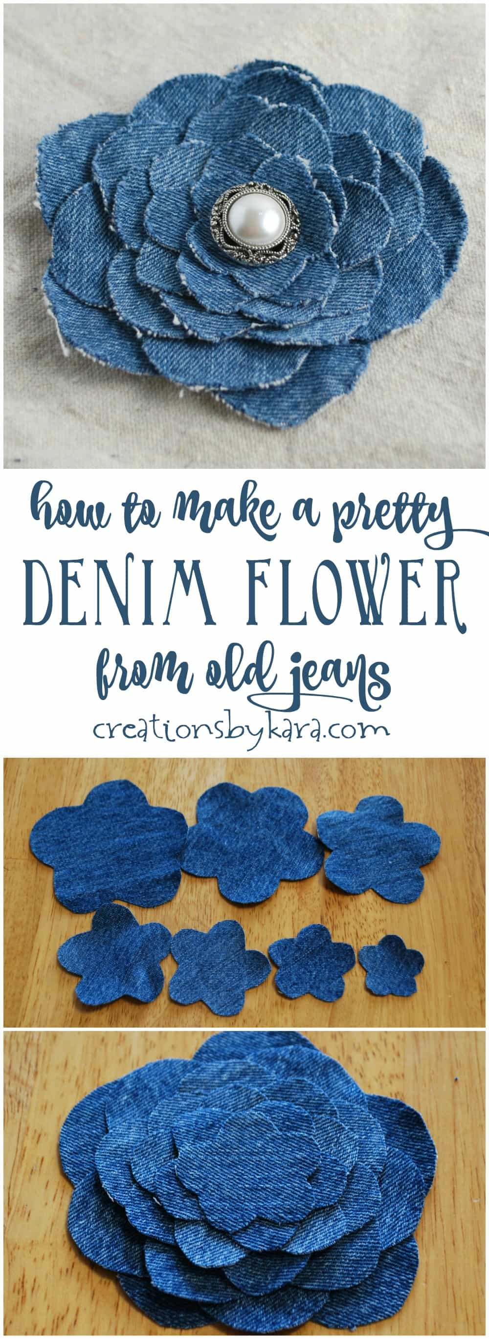 Step by step instructions for making a beautiful denim flower from an old pair of jeans. A perfect upcycling craft project. Makes a fun gift!
