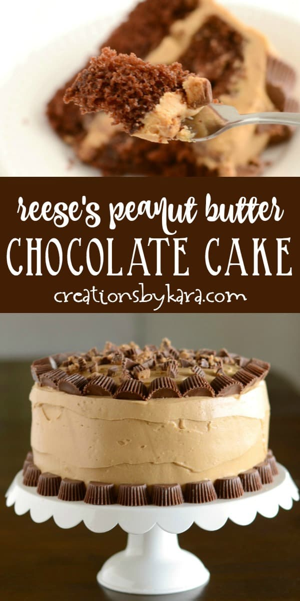 reeses peanut butter chocolate cake recipe collage