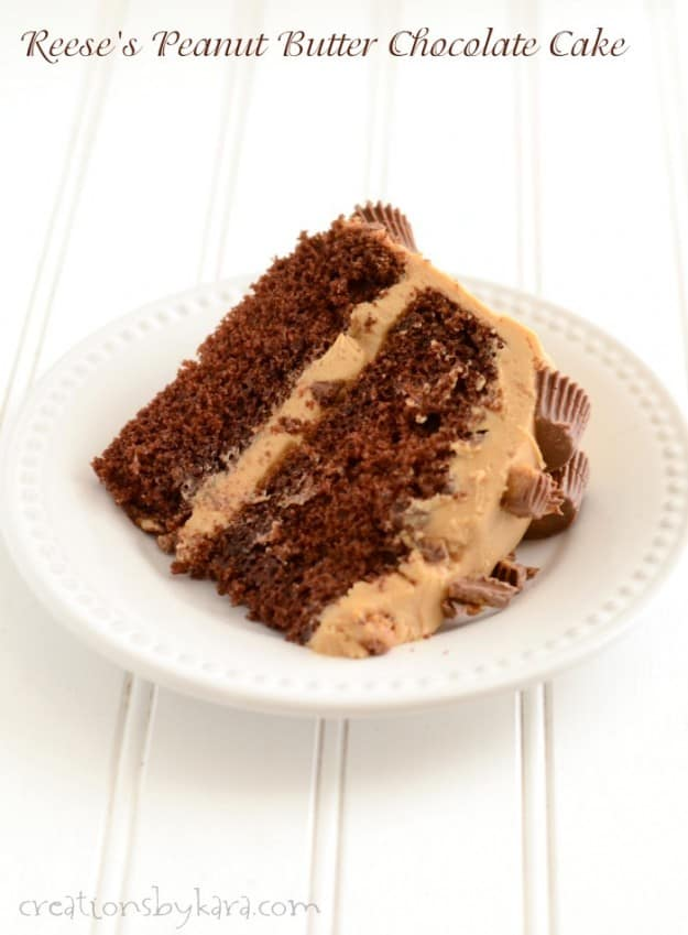 Chocolate Cake with Reese's Peanut Butter Cups and peanut butter frosting