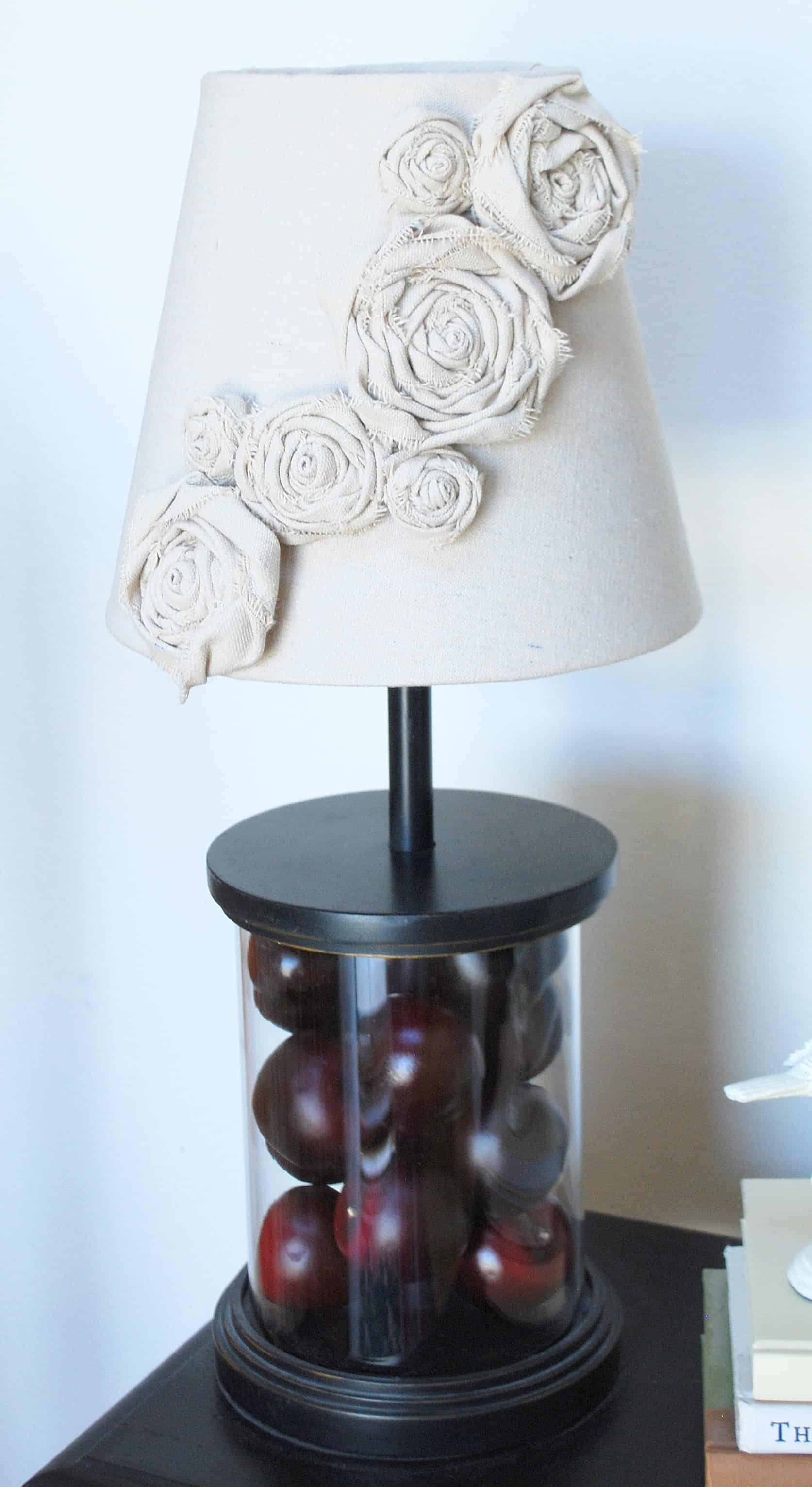 Diy lampshade redo canvas rosettes - Diy lamp shade ...