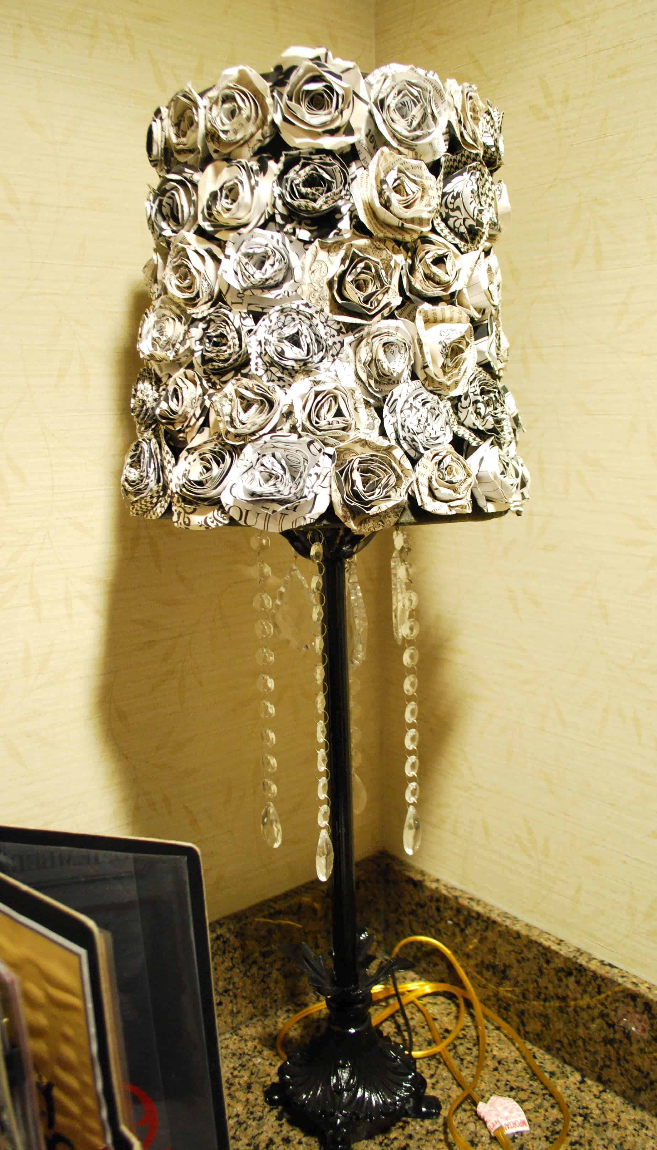 Diy lampshade redo canvas rosettes for Redoing lamp shades