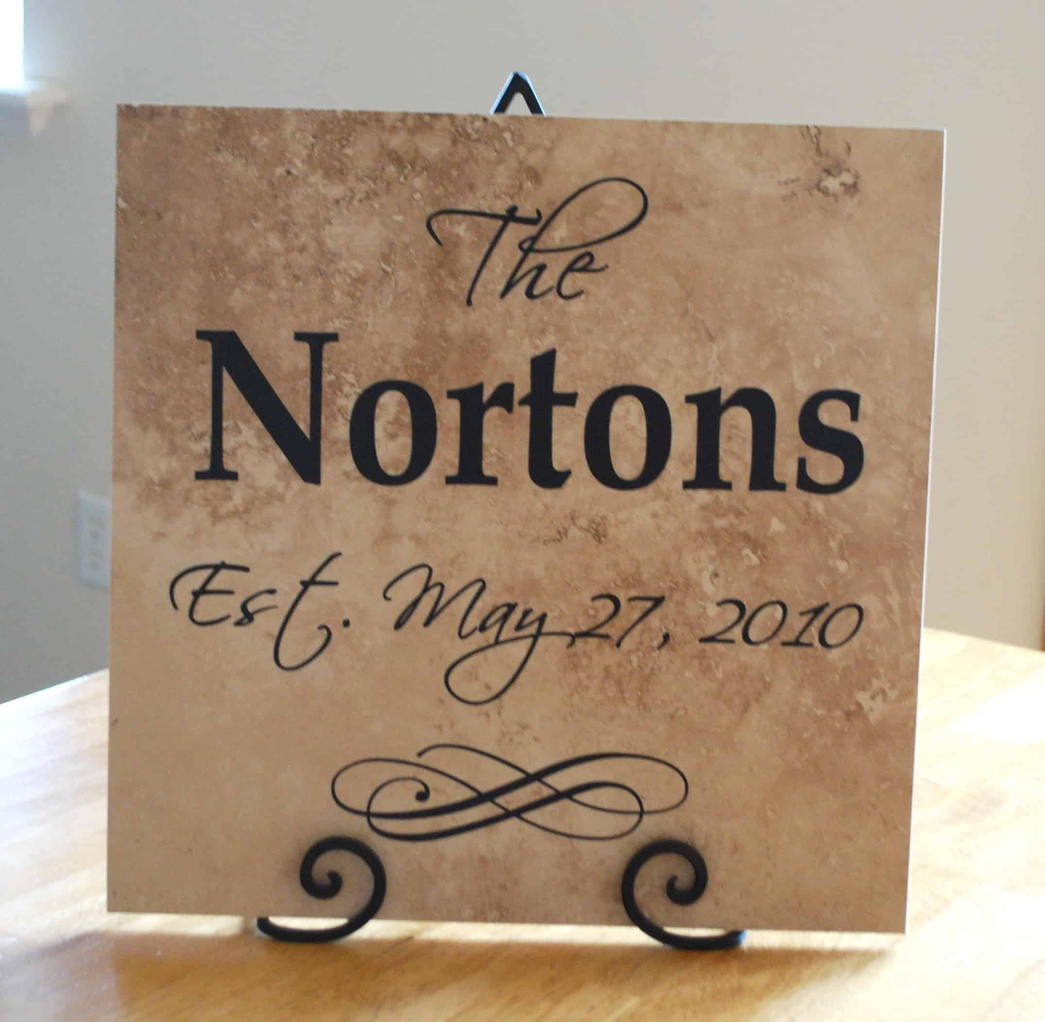 Wedding Gift Idea Vinyl Lettering Family Tile