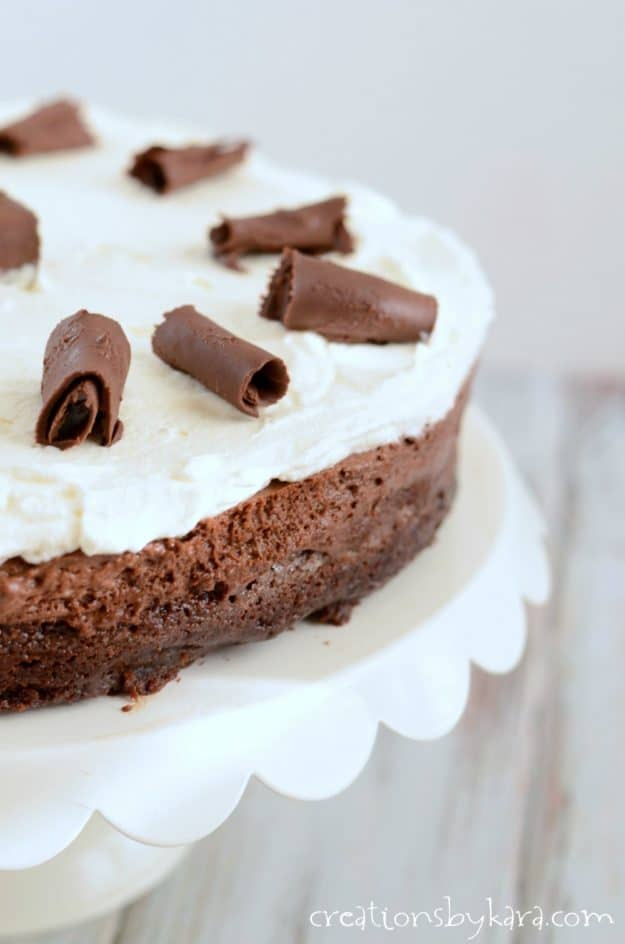 chocolate mousse torte on a cake stand
