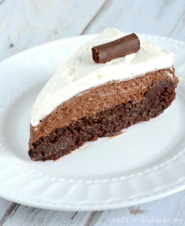 With a fudgy brownie layer, silky smooth chocolate mousse, and whipped cream, this Chocolate Mousse Cake is an epic dessert recipe. Sure to please any chocolate lover!