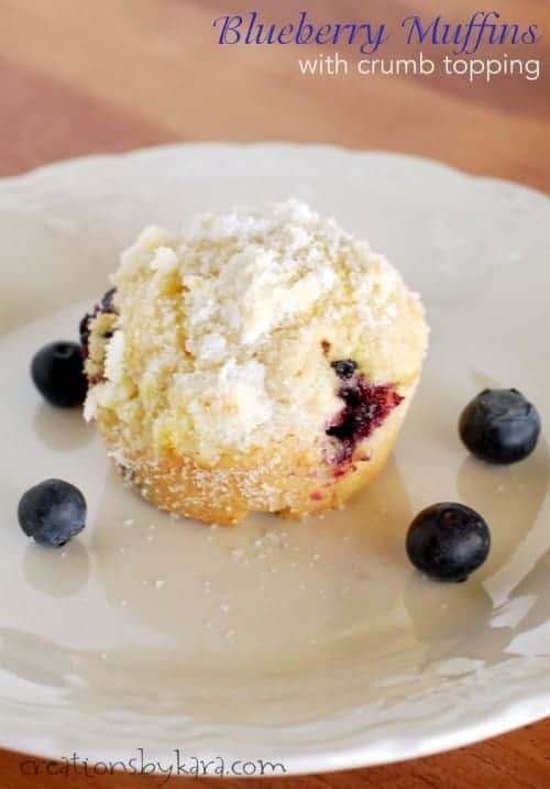 Blueberry Muffins with Crumb Topping.  A perfect breakfast recipe