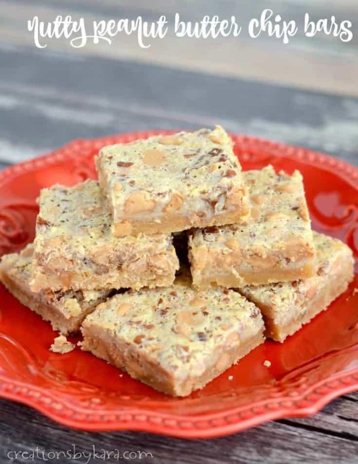 Ooey gooey Peanut Butter Chip Bars. An easy dessert recipe for peanut butter fans.