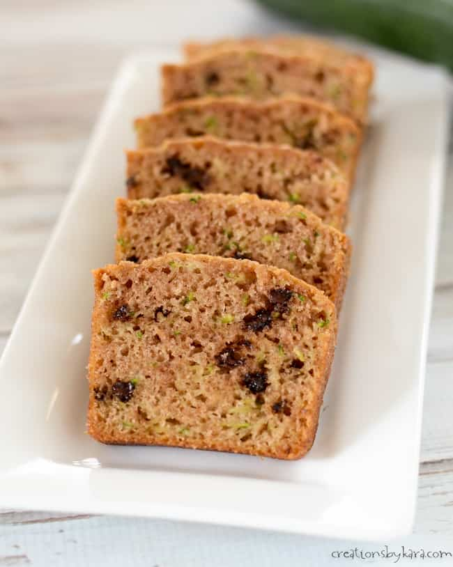 zucchini bread with chocolate chips on a tray
