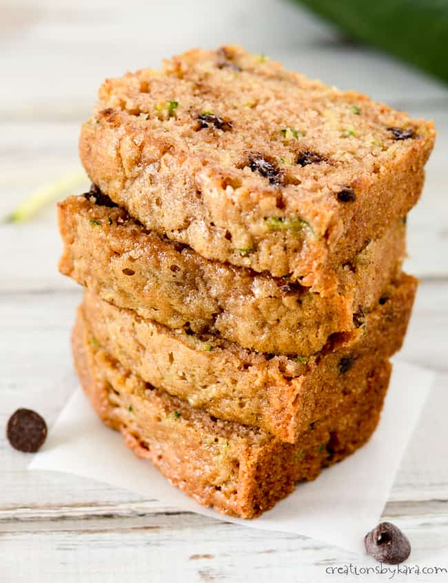 close up of slices of chocolate chip zucchini bread