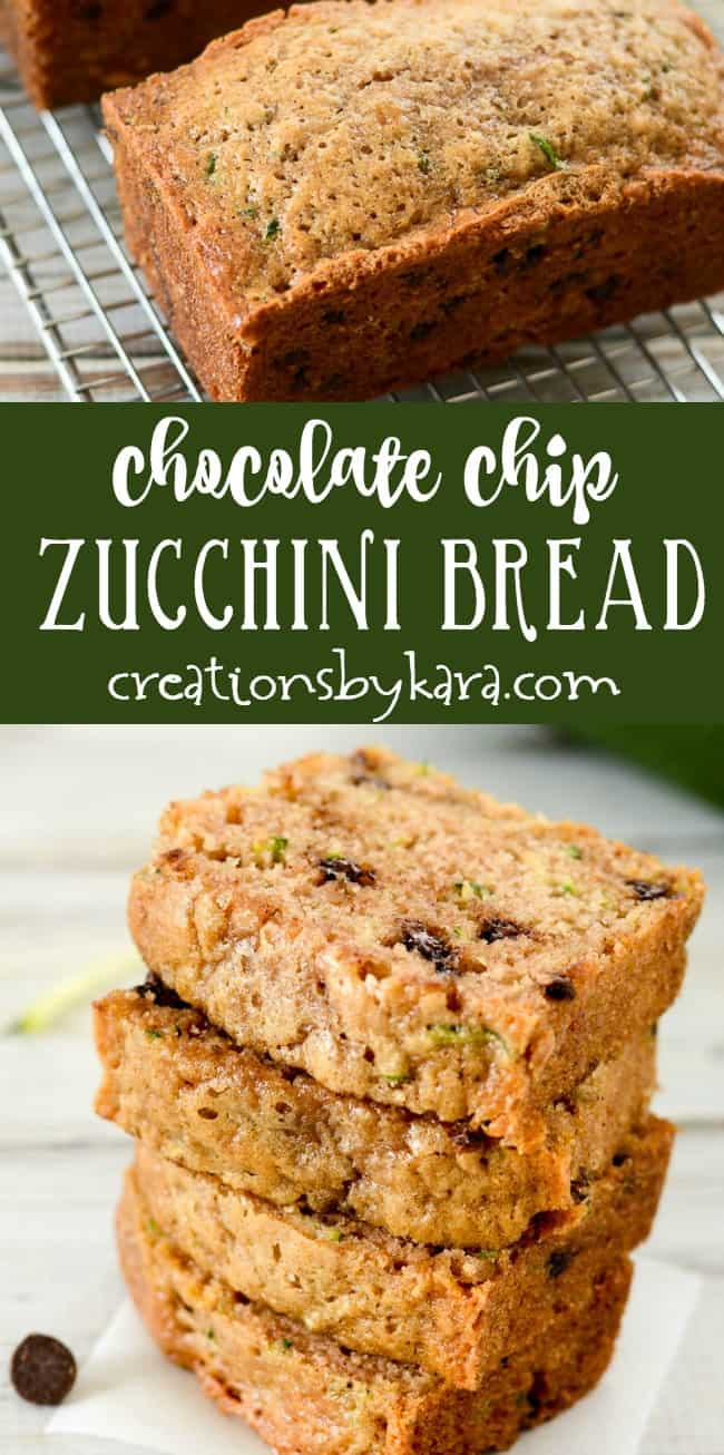 chocolate chip zucchini bread recipe collage