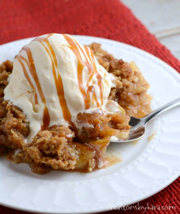 Recipe for Caramel Apple Crisp - a decadent twist on a classic recipe. A wonderful fall dessert recipe!