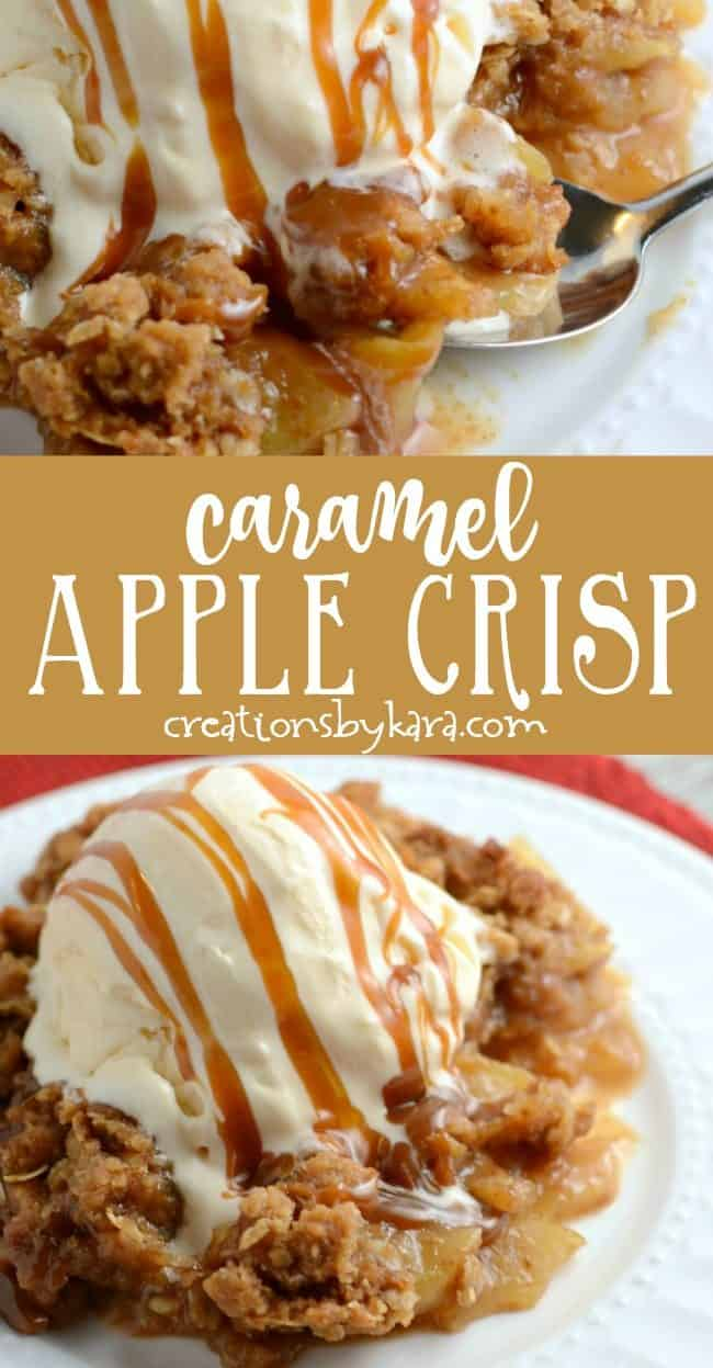 caramel apple crisp recipe collage