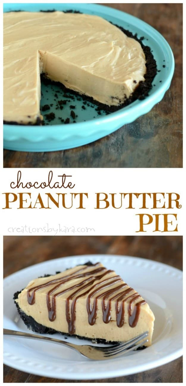 Creamy Peanut Butter Pie with chocolate crumb crust- a great make-ahead dessert!