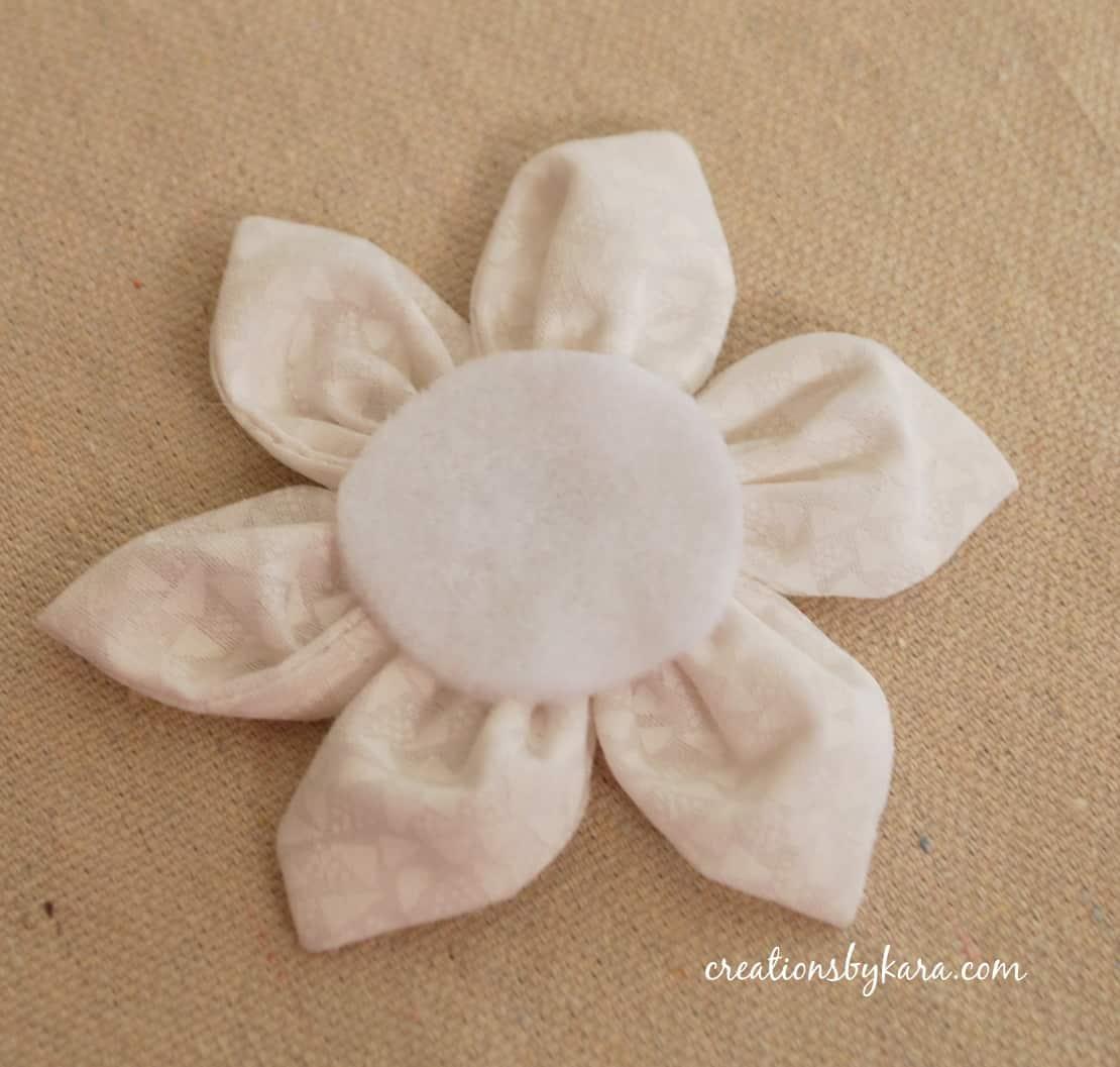 Kanzashi fabric flower hair clip Pink fabric flower.   Fabric Hair Flowers Tutorial