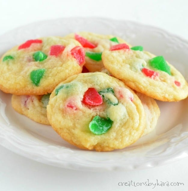 plate of Christmas gumdrop cookies