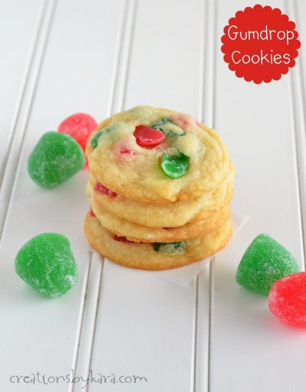 stack of gumdrop cookies on waxed paper