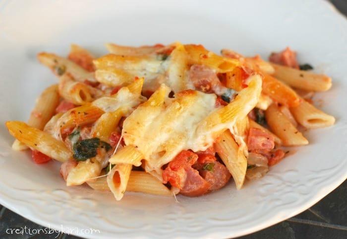 smoked-sausage-penne-pasta