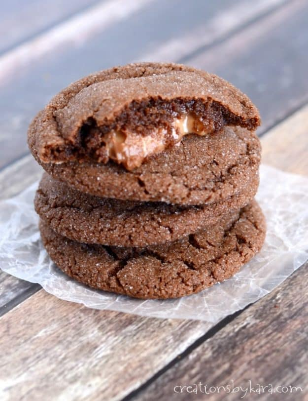 These chocolate Rolo cookies are always a favorite. You can't beat a chocolate cookie with an ooey gooey caramel center!