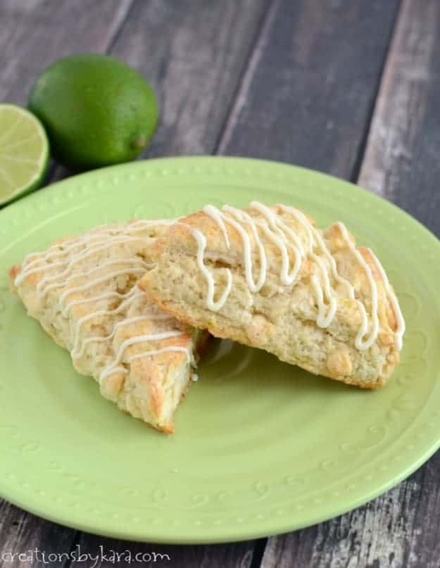 Recipe for White Chocolate Lime Scones. Bring a little hint of spring to your breakfast table!