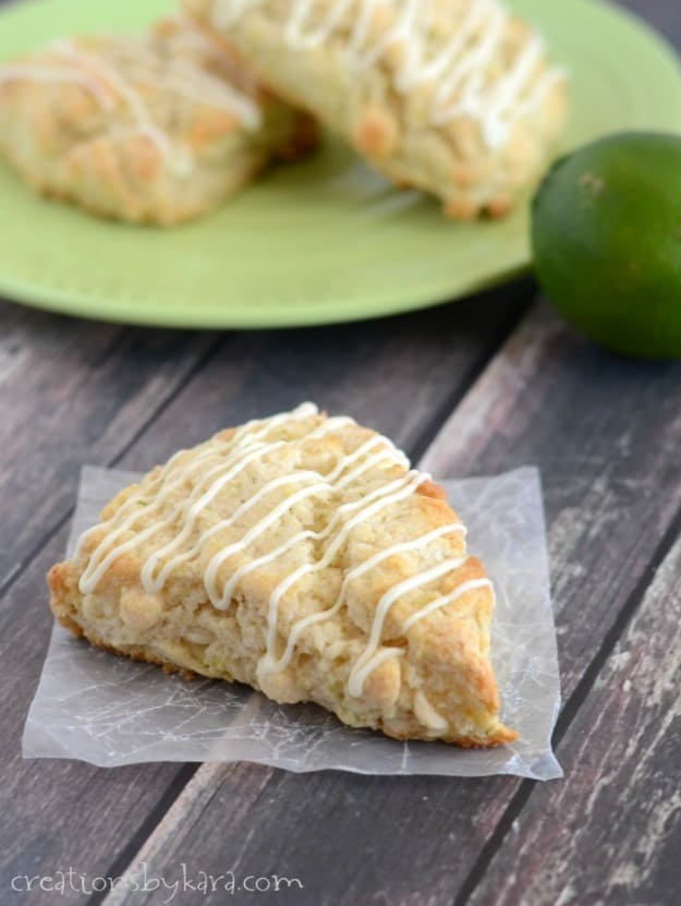 These White Chocolate Lime Scones are easy to make, and packed with flavor!