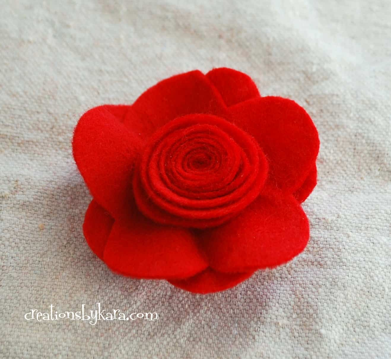 felt flower rose tutorial 009 Creations by Kara