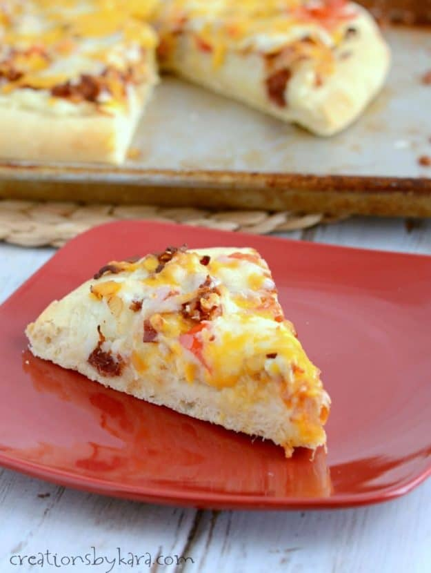 Recipe for Potato Bacon Pizza. This is not your typical pizza recipe, but it just might become a new favorite!