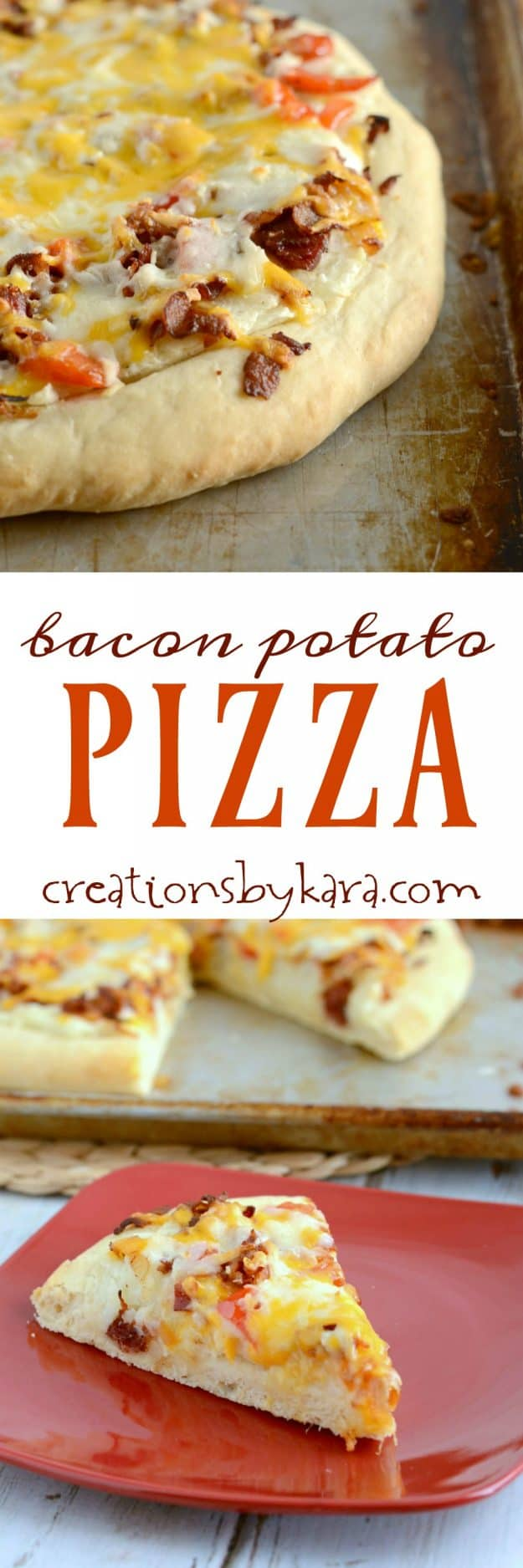 Loaded with bacon, red peppers, cheese, and mashed potatoes, this Bacon Potato Pizza may become a new favorite at your house!