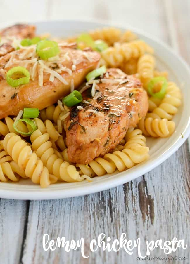 Cajun Lemon chicken with pasta garnished with green onions