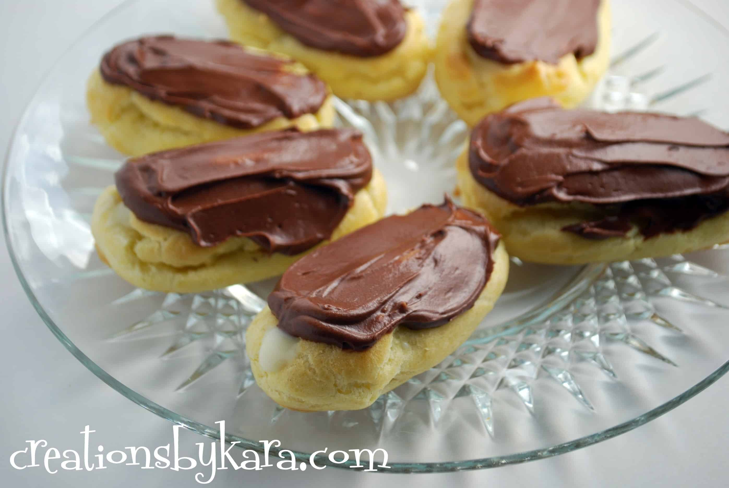 Chocolate Eclairs - Creations by Kara