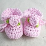 Crochet Baby Booties with Rosettes