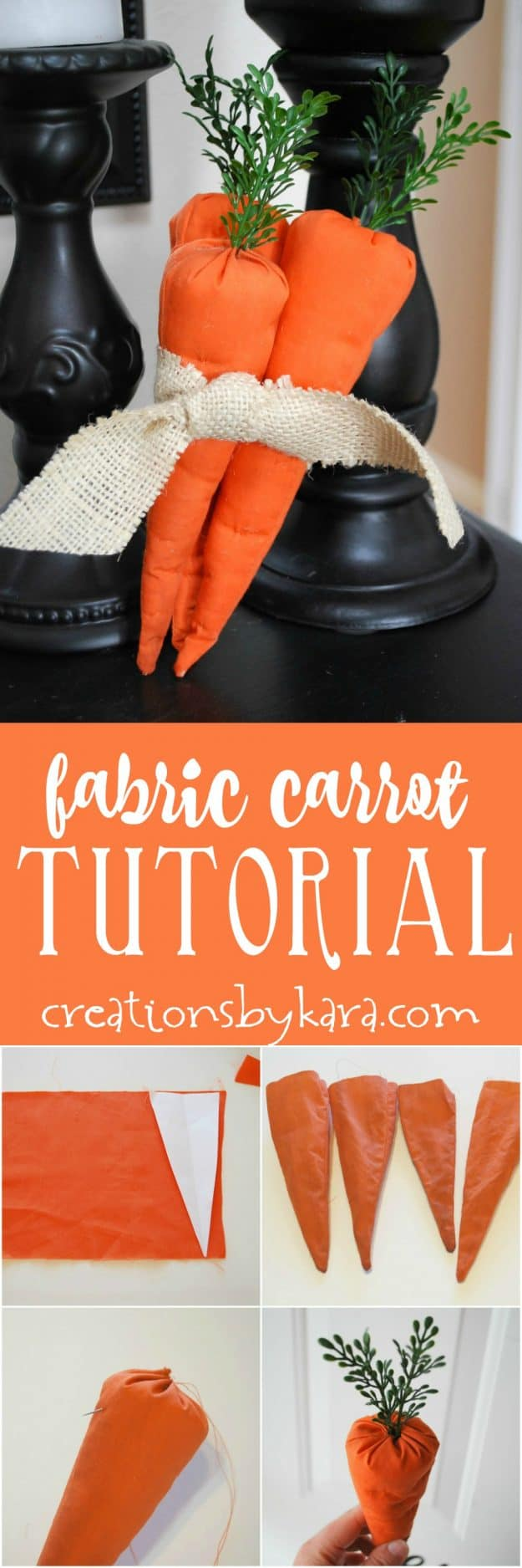 Fabric Carrot Tutorial - step by step instructions for sewing cute fabric carrots. Perfect Easter or spring decor!
