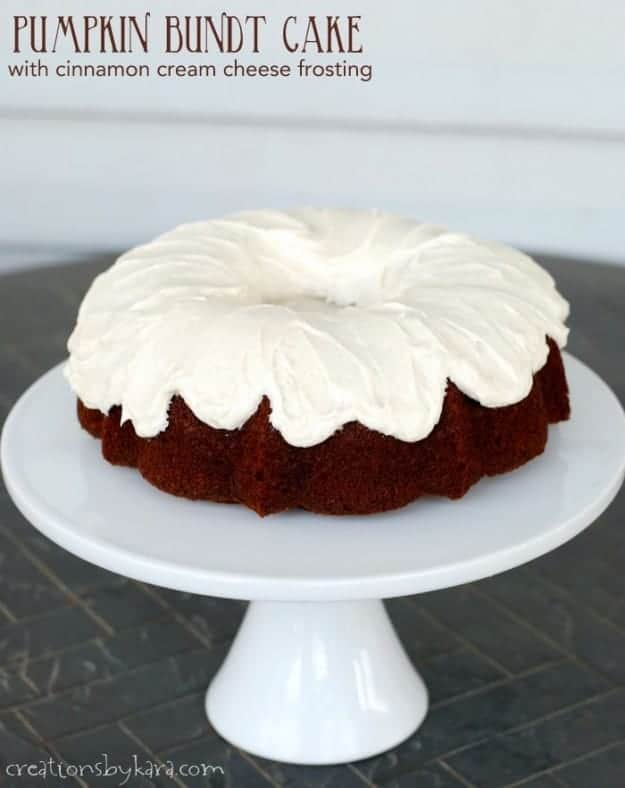 Pumpkin Bundt Cake with cinnamon cream cheese frosting.