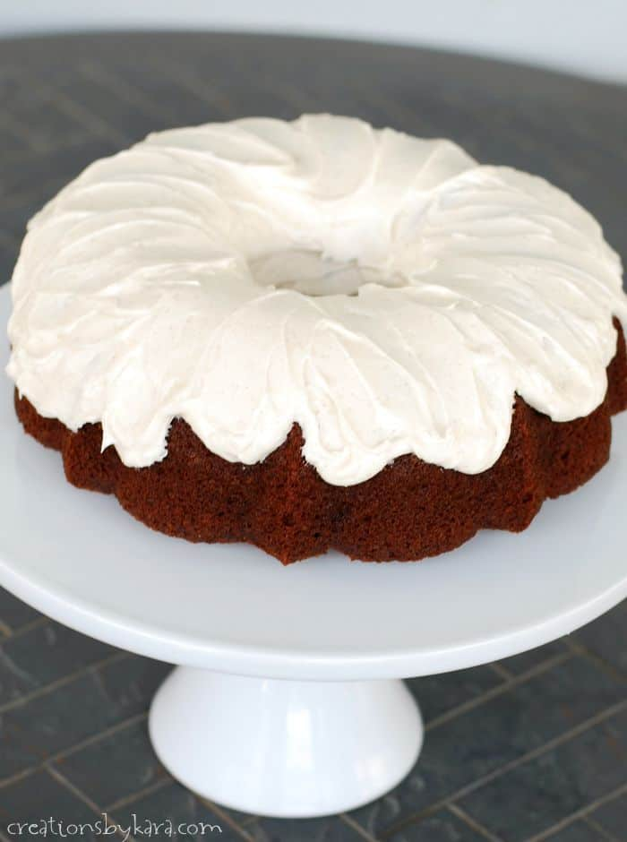 Recipe for Pumpkin Bundt Cake with cinnamon cream cheese frosting. To die for!