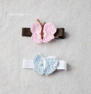 hair clips for kids: crochet butterfly pattern