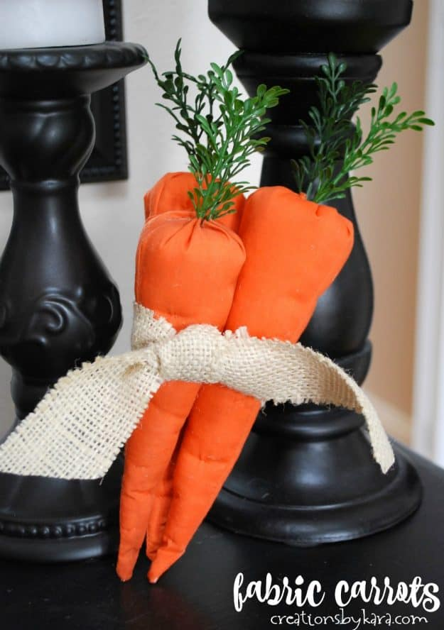 fabric carrots wrapped with burlap ribbon