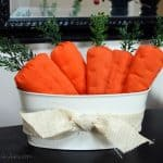 Directions for making fabric carrots. Perfect Easter or spring decorations. Great farmhouse decor.